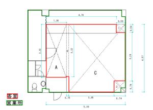 風俗営業スナックの客室求積図